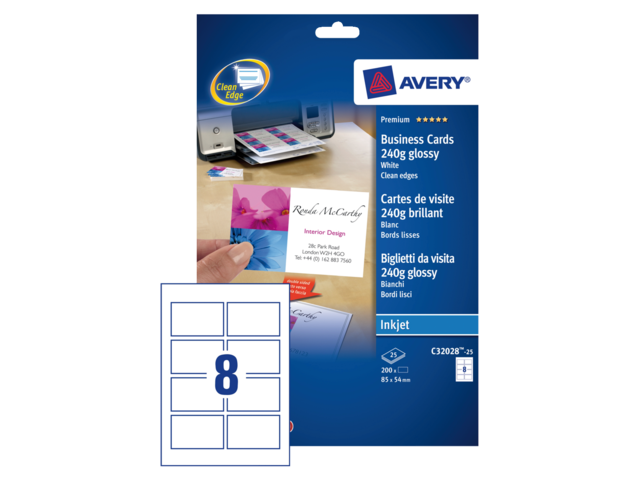 Photo: VISITEKAART AVERY C32028-25 85X54MM 200ST GLANS