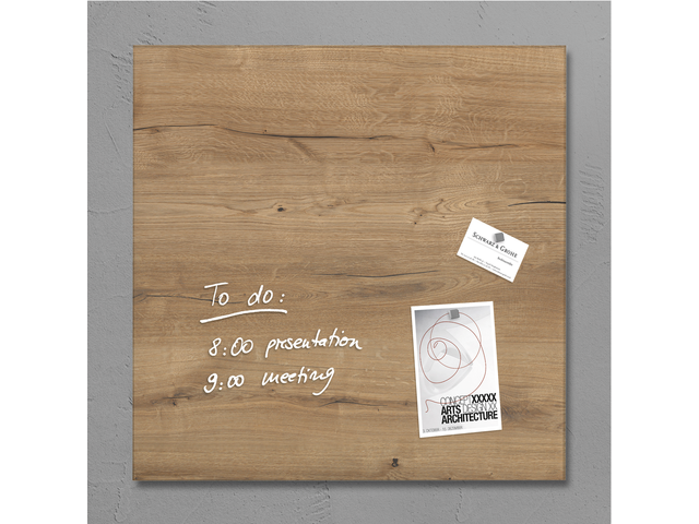 Photo: GLAS-MAGNEETBORD SIGEL 480X480X15MM NATURAL WOOD