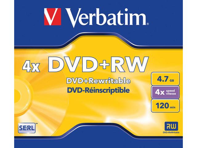 DVD+RW VERBATIM 4.7GB 4X 5PK JC 3