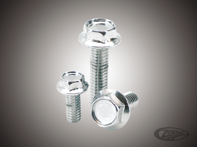 CHROME PLATED INDENTED HEX SERRATED FLANGE BOLTS ASSORTMENT - Zodiac