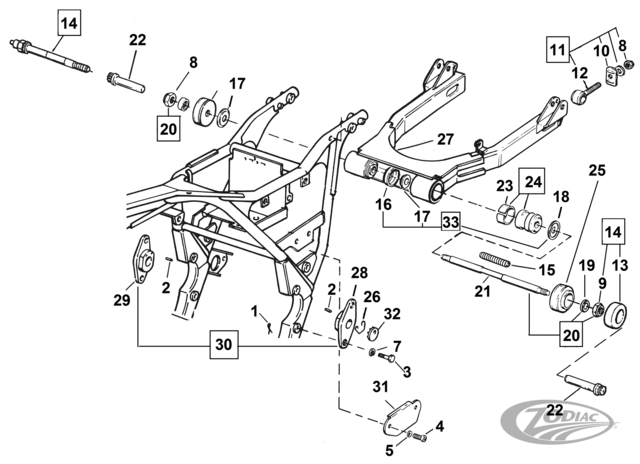 swingarm parts for 1982 thru 1994 fxr