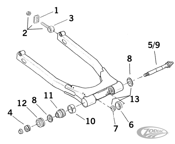 swingarm parts for 1980 thru 2001 flh  flt series models