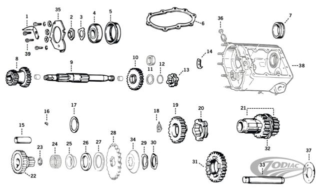 Big Twin 4 Speed Transmission Parts Zodiac