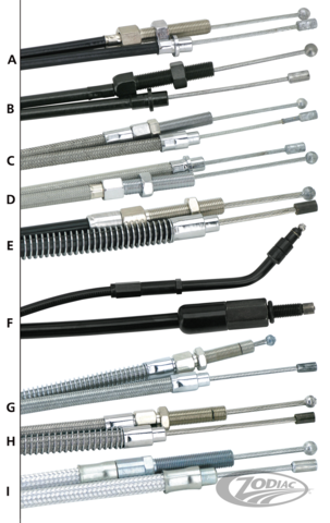 Throttle and idle cables for harley davidson buell zodiac zodiac offers a wide selection of control cables for almost any typemodel harley davidson buell or custom built motorcycles cables are available in three ccuart Image collections